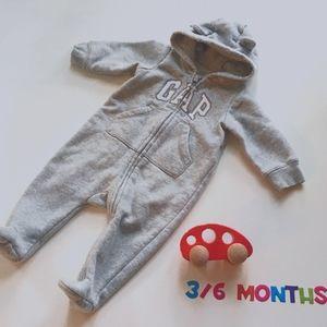 GAP Baby Footed One-Piece zipper Grey * 3-6 months